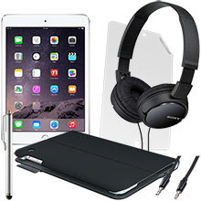 iPad mini 3 Wi-Fi 16GB (Gold), Screen Protector, Keyboard Case, Stylus, Audio Cable & Headphones Package