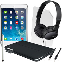iPad mini Wi-Fi 16GB (White), Screen Protector, Keyboard Case, Stylus, Audio Cable & Headphones Package