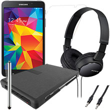 Samsung Galaxy Tab 4 7.0 8GB (Black), Keyboard Case, Screen Protector, Stylus, Audio Cable & Headphones Package