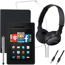 "Amazon Fire HD 7"" 16GB (Black), Screen Protector, Case, Stylus, Audio Cable & Headphones Package"