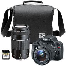 Canon EOS Rebel SL1 18.0MP DSLR Camera with 18-55mm Lens, Canon 75-300mm Telephoto Lens, Bag and 16GB Memory Card