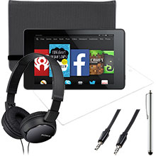 "Amazon Fire HD 6"" 8GB (Black), Screen Protector, Case, Stylus, Audio Cable & Headphones Package"