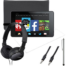 "Amazon Fire HD 6"" 16GB (Black), Screen Protector, Case, Stylus, Audio Cable & Headphones Package"