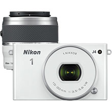 Nikon 1 J4 Digital Compact System Camera with 10-30mm Lens - White and Nikon 1 NIKKOR 30-110mm Telephoto Lens - White