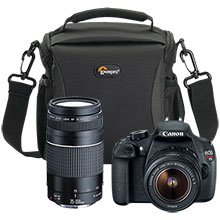 Canon EOS Rebel T5 DSLR Camera with 18-55mm Lens, 75-300mm Telephoto Zoom Lens and Camera Bag