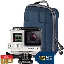 GoPro HERO4 Silver/MOTO Action Camera with Free Camera Case, 16GB Memory Card and $50 Best Buy Gift Card