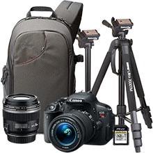 "Canon EOS Rebel T5i DSLR Camera with 18-55mm Lens, Extra 60mm Lens, 70"" Tripod, Sling Bag & 32GB Memory Card"