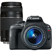 Canon EOS Rebel SL1 18.0MP DSLR Camera with 18-55mm Lens & Extra 75-300mm Lens