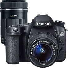 Canon EOS 70D 20.2MP DSLR Camera with 18-55mm Lens & Extra 55-250mm Lens