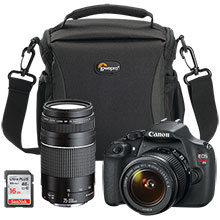 Canon EOS Rebel T5 18.0MP DSLR Camera with 18-55mm Lens, Extra 75-300mm Lens, Bag & 16GB Memory Card