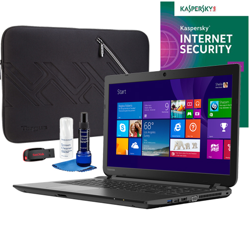 Toshiba C55D-B5102 Laptop, Internet Security Software, Screen Cleaner, Sleeve & Flash Drive Package