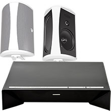 "Definitive Technology 300W 2-Channel Wireless Amplifier and Two 5-1/4"" Indoor/Outdoor Speakers (Black) Package"