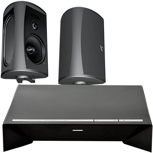 "Definitive Technology 300W 2-Channel Wireless Amplifier and Two 6½"" Indoor/Outdoor Speakers (Black) Package"