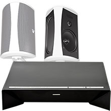 "Definitive Technology 300W 2-Channel Wireless Amplifier and Two 6½"" Indoor/Outdoor Speakers (White) Package"