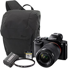 Sony Alpha a7 24.3MP Compact System Camera with 28-70mm Lens, UV Lens Filter, Extra Battery, 32GB Memory Card and Bag