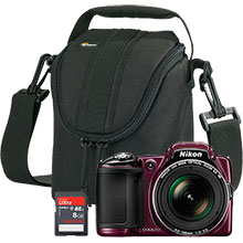 Nikon Coolpix L830 16.0MP Digital Camera - Plum with 22.5-765mm Lens, Free Camera Bag and 8GB Memory Card