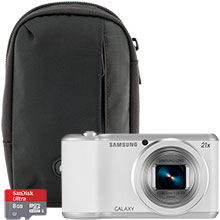Samsung Galaxy 2 16.3MP Digital Camera - White with Free Camera Bag and 8GB Memory Card