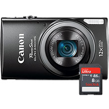 Canon PowerShot ELPH-340 16.0MP Digital Camera with 25-300mm Lens and Free 8GB Memory Card