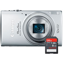 Canon PowerShot ELPH-340 16.0MP Digital Camera - Silver with 25-300mm Lens and Free 8GB Memory Card