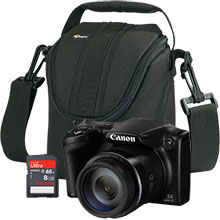 Canon PowerShot SX400 IS 16.0MP Digital Camera with Free Camera Bag and 8GB Memory Card