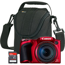Canon PowerShot SX400 IS 16.0MP Digital Camera - Red with Free Camera Bag and 8GB Memory Card