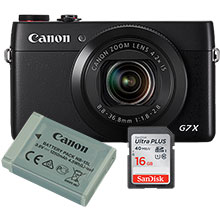Canon PowerShot G7 X 20.2MP Digital Camera with Free Extra Battery and 16GB Memory Card