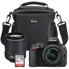 Nikon D5500 24.2MP DSLR Camera with 18-55mm Lens, Extra 55-200mm Lens, 16GB Memory Card and Camera Bag