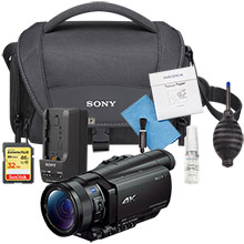 Sony Prosumer FDR-AX100 4K HD Camcorder and Free 32GB Memory Card, Cleaning Kit, Camera Bag and Travel Charger