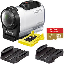 Sony AZ1VR HD Mini Action Cam with Remote - White with Free Adhesive Mounts and SanDisk Extreme PLUS 16GB Memory Card