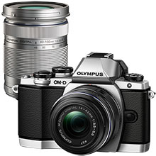 Olympus OM-D E-M10 Mirrorless Camera - Silver with 14-42mm Lens and Extra 40-150mm f/4.0-5.6 Telephoto Zoom Lens