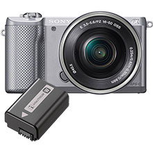 Sony Alpha A5000 20.1MP Compact System Camera with 16-50mm Retractable Lens - Silver & Free Extra Battery