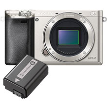 Sony Alpha a6000 24.3MP Mirrorless Camera (Body Only) - Silver & Free Extra Battery