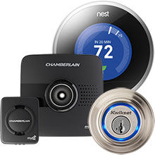 Nest Learning Thermostat, Kevo Bluetooth Electronic Door Lock and Chamberlain MyQ Garage Door Controller