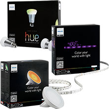 Philips hue 16-Million Color Wi-Fi Home Lighting Package with Starter Kit, Light Strip and Accent Light