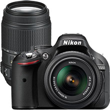 Nikon D5200 DSLR Camera with 18-55mm Lens & Extra 55-300mm Telephoto Zoom Lens