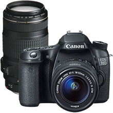 Canon EOS 70D 20.2MP DSLR Camera with 18–55mm Lens & Extra 70–300mm Telephoto Zoom Lens