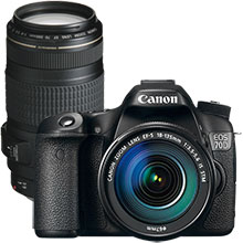 Canon EOS 70D 20.2MP DSLR Camera with 18–135mm Lens & Extra 70–300mm Telephoto Zoom Lens