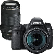 Canon EOS 6D 20.2MP DSLR Camera with 24–105mm Lens and Extra 70–300mm Telephoto Zoom Lens