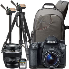 "Canon EOS 70D 20.2MP DSLR Camera with 18-55mm Lens, Extra 60mm Lens, 70"" Tripod/Monopod, Sling Bag & 32GB Memory Card"