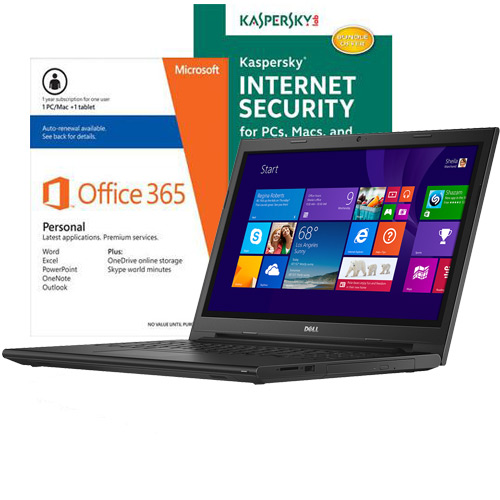 Dell Inspiron I3543-5752BLK Laptop, Internet Security Software & Microsoft Office Package