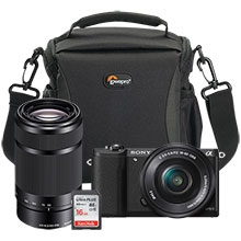 Sony Alpha a5100 24.3MP Mirrorless Camera with 16-50mm Retractable Lens, Extra 55-210mm Lens, Bag and 16GB Memory Card