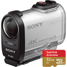 Sony FDRX1000 HD Action Camcorder - White and 32GB Memory Card