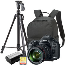 "Canon EOS 5D Mark III 22.3MP DSLR Camera with 24-105mm Lens, Bag, Extra Battery, 61"" Tripod and 32GB Memory Card"