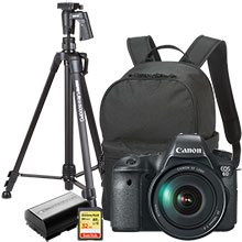 "Canon EOS 6D 20.2MP DSLR Camera with 24-105mm Lens, Free Bag, Extra Battery, 61"" Tripod and 32GB Memory Card"