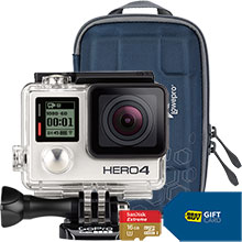 GoPro HERO4 Silver Action Camera and Free Camera Case, 16GB Memory Card, $60 Best Buy Gift Card & $10 Best Buy Gift Card