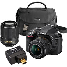 Nikon D3300 24.2MP DSLR Camera with 18-55mm & 55-200mm Lenses and Free WU-1A Wireless Mobile Adapter