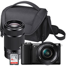 Sony Alpha a5000 24.3MP Compact System Camera with 16-50mm Lens, Extra 55-210mm Lens, Free Bag & 16GB Memory Card