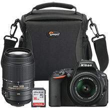 Nikon D5500 24.2MP DSLR Camera with 18-55mm Lens, Extra 55-300mm Telephoto Lens, Free Bag and 16GB Memory Card