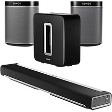 Sonos PLAYBAR, SUB and Two PLAY:1 Speakers (Black) Package