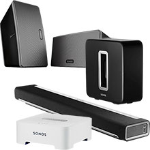Sonos PLAYBAR, SUB, BRIDGE and Two PLAY:3 Speakers (Black) Package